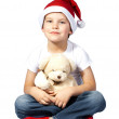 Stock Photo: Boy with SantClaus hat