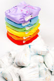 Eco friendly diapers and dirty pampers — Stock Photo