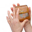 Stock Photo: Woman hands showing wallet,isolated over white