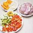Preparation fried chicken fillets with vegetables — Stock Photo