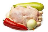 Vegetales y pollo crudo — Foto de Stock