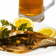 Grilled Fish with Lemon — Stock Photo