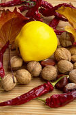 Best natural spices of pepper, walnuts,quince,almonds — Stock Photo