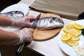 Gekookte vis zeebrasem vis — Stockfoto