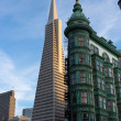Stock Photo: SFrancisco Icons TransamericPyramid and Columbus Buildi