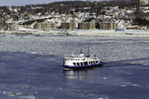 Ferry boat during winter — Stock Photo