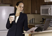 Business woman working from home. — Stock Photo