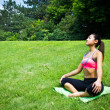 Stock Photo: Young fit wompractices yogin park to meditate and relax