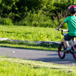 Child bicycling on the bike path in the park — Stock Photo #30102267