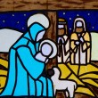 Manger nativity scene with the Virgin Mary — Stock Photo