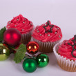 Christmas cupcakes with tree ornament — Stock Photo #31943563