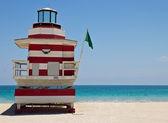 South Beach lifeguard hut in Miami, Florida — Stok fotoğraf