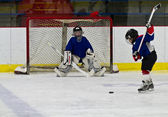 Ice hockey player shoots the puck at the net — Stock Photo