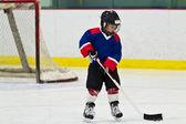 Buz pateni, buz hokeyi uygulama pak ile çocuk — Stok fotoğraf