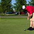 Stock Photo: Golfer practicing putting golf balls