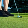 Stock Photo: Golf player putting on the green