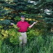 Golfer has lost his golf ball in the woods — Stock Photo #41512273