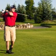 Stock Photo: Golfer hitting ball on tee