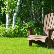 Wooden Adirondack summer lawn chair outside on the green grass — Stock Photo #49280431
