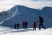 Snowshoeing on the snow — Stock Photo