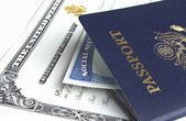 Passport and documents — Stock Photo