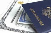 Passport and documents — Stock Photo