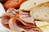 Ham lunch spread — Stock Photo