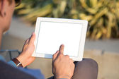 Man hands holding tablet pc — Stock fotografie