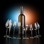 Bottle Of Wine With Glassfuls On Artistic Background (Conceptual Picture) — Stock Photo