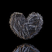 Heart Created Out Of Nails (Reflection On Black Background) — Stock Photo