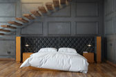 Black Bedroom Interior With Stairs (Front View) — ストック写真