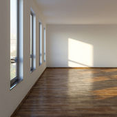 Empty Living Room With Laminate Flooring — Stock Photo