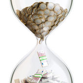 Euro Money In Hourglass (Conceptual Picture Of Successful Business) — Stock Photo