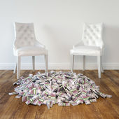 Interior Room With White Leather Chairs And Money On Wooden Floor — Stock Photo