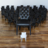 Quadro concettuale di molte sedie in cuoio nero e quello bianco — Foto Stock