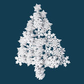 Christmas Card Application From Plastic Snowflakes. On Navy (Blue) Background. Space For Text Freely. — Foto de Stock