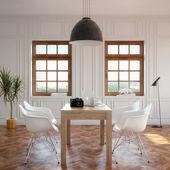 Eleganz-wohn-esszimmer mit klassischen holztisch und gemütlichen stühlen — Stockfoto