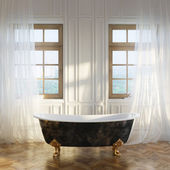 Luxury Retro Bathtub In Modern Room Interior 1st Version — Stock Photo