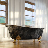 Luxury Retro Bathtub In Modern Room Interior 2d Version — Stock Photo