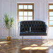 Foto Stock: Cozy Light Interior Design With Vintage Leather Sofa