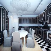 Interior blanco y negro cocina con zona de comedor — Foto de Stock