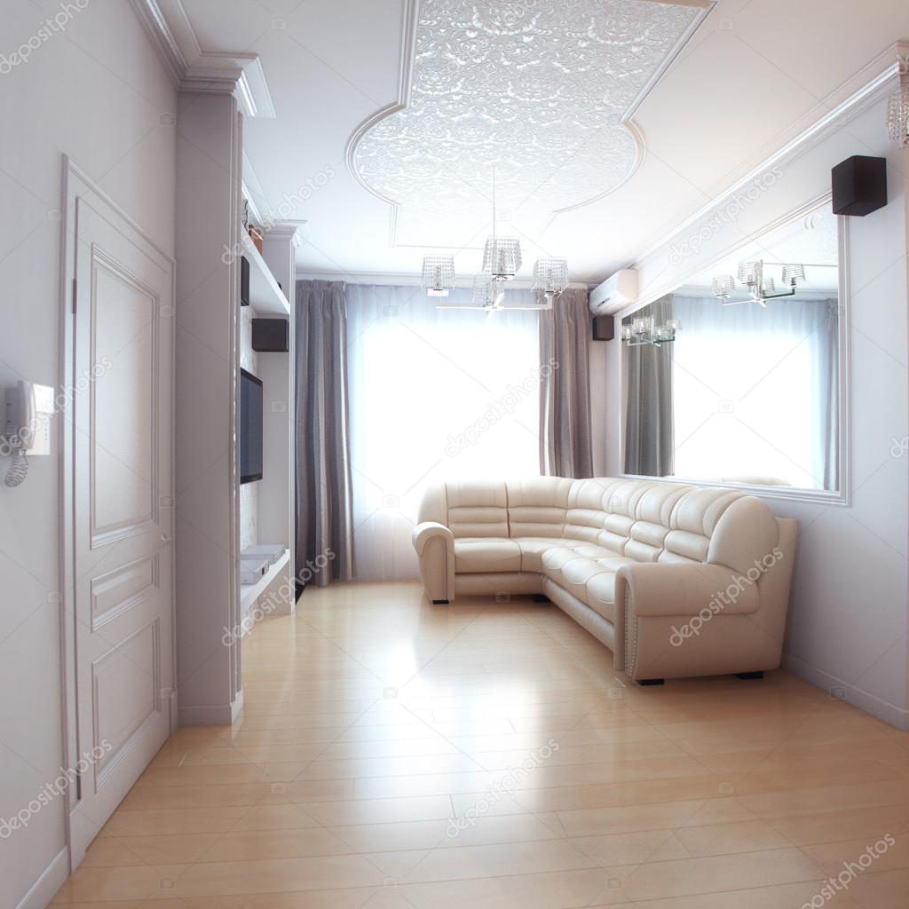 화이트 가죽 소파와 함께 거실 인테리어 디자인 — 스톡 사진 ...