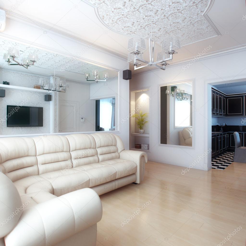 arredamento soggiorno con divano in pelle bianco foto