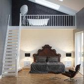 Loft Bedroom Vintage Interior With Brick Wall And Bathtub — Stock Photo