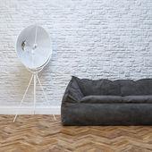 Modern Interior Design With Cozy Black Sofa And Lighting — Stock Photo