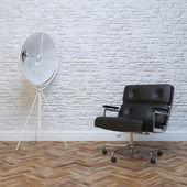 Black leather office armchair — Foto Stock