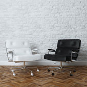 White Brick Wall Office Interior With Two Leather Armchairs — Foto Stock
