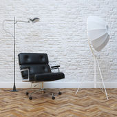 White Brick Wall Interior With Black Leather Office Armchair — Foto Stock