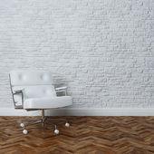 ミニマリスト スタイルの内装のスタイリッシュな白い椅子 — ストック写真