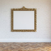 White Walls Brick Interior With Golden Carved Frame And Hardwood — Stock Photo